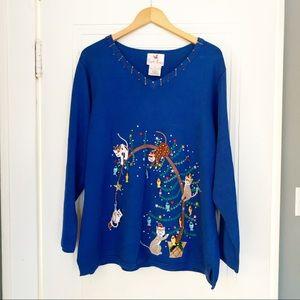 Quacker Factory  Royal Blue Cat Sweater